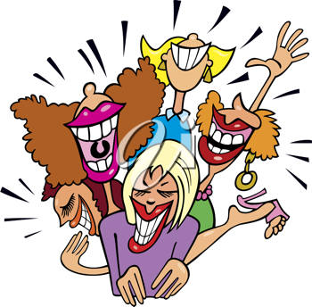 Royalty Free Clipart Image of a Group of Laughing Women