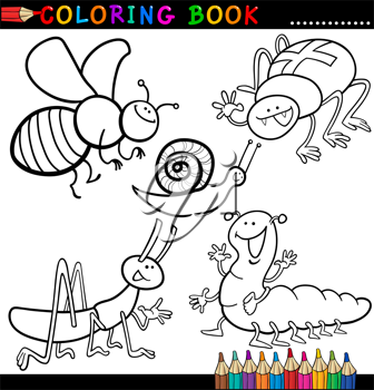 Coloring Book or Page Cartoon Illustration of Funny Insects and Bugs for Children