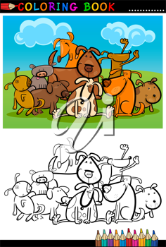 Coloring Book or Page Cartoon Illustration of Funny Dogs Group against Blue Sky for Children