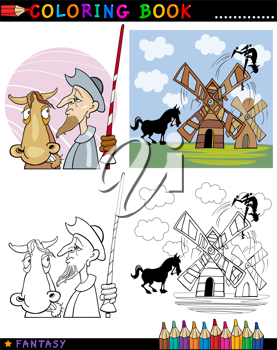 Coloring Book or Page Cartoon Illustration of Don Quixote and his Horse Fairytale Characters