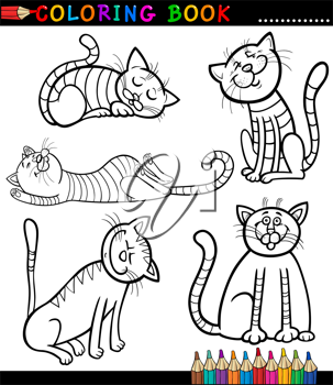 Coloring Book or Page Cartoon Illustration of Funny Cats or Kittens for Children