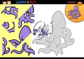 Cartoon Illustration of Education Puzzle Game for Preschool Children with Funny Octopus