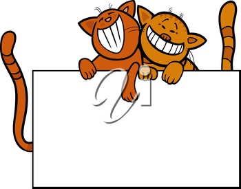 Cartoon Illustration of Two Funny Cats with Blank Card or Board Greeting or Business Card Design Isolated