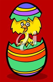 Cartoon Illustration of Funny Little Yellow Chicken or Chick in Colorful Eggshell of Easter Egg