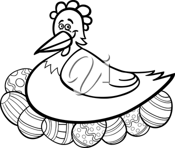 Black and White Cartoon Illustration of Funny Farm Hen Hatching Easter Eggs for Coloring Book