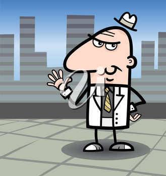 Cartoon Illustration of Funny Man or Businessman with Bag of Money in Cash in the City