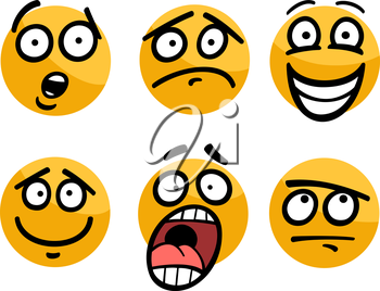 Cartoon Illustration of Funny Emoticon or Emotions and Expressions like Sad, Happy, Fear or Skeptic