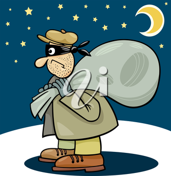 Royalty Free Clipart Image of a Thief at Night