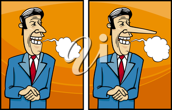 Royalty Free Clipart Image of a Man Telling a Story and His Nose Grows
