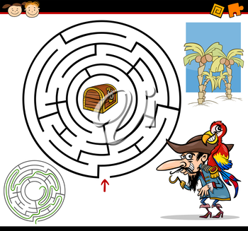 Royalty Free Clipart Image of a Pirate Maze