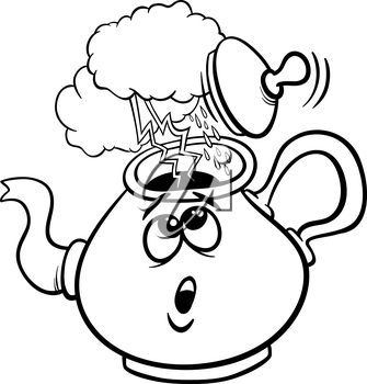 Black and White Cartoon Humor Concept Illustration of Tempest in a Teacup Saying or Proverb for Coloring Book