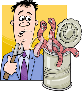 Cartoon Humor Concept Illustration of Open Can of Worms Saying or Proverb