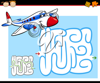 Cartoon Illustration of Education Maze or Labyrinth Game for Preschool Children with Funny Airplane