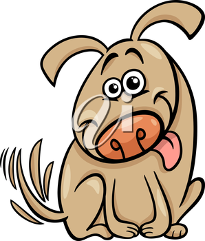 Cartoon Illustration of Cute Dog Wagging his Tail