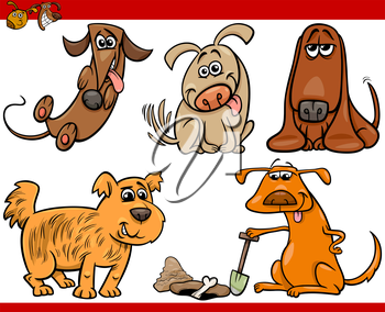 Cartoon Illustration of Happy Dogs or Puppies Pets Set
