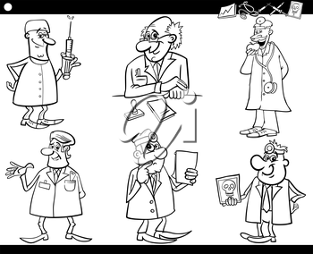 Black and White Cartoon Illustration of Funny Medical Staff Doctors Characters Set for Coloring Book