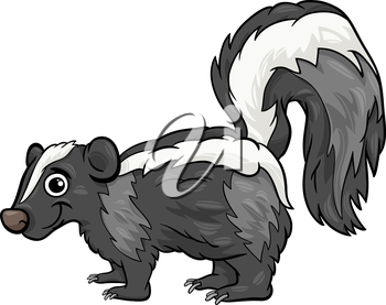 Cartoon Illustration of Cute Skunk Animal
