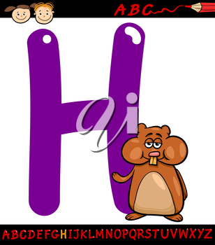 Cartoon Illustration of Capital Letter H from Alphabet with Hamster Animal for Children Education