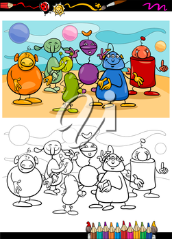 Coloring Book or Page Cartoon Illustration of Black and White Funny Fantasy Characters or Aliens Group for Children