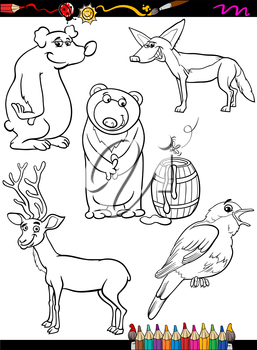 Coloring Book or Page Cartoon Illustration of Black and White Funny Animals Characters Set for Children