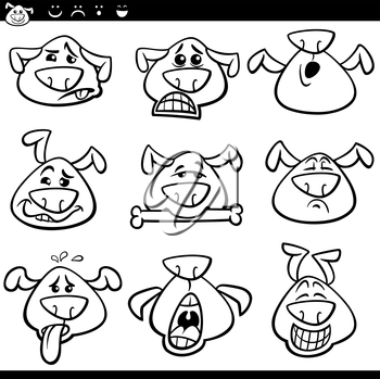 Black and White Cartoon Illustration of Funny Dogs Expressing Emotions or Emoticons Set Coloring Book