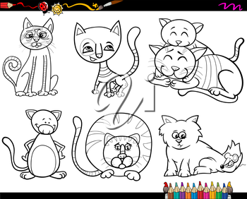 Coloring Book Cartoon Illustration of Funny Cats Characters Set