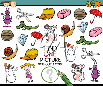Cartoon Illustration of Finding Single Picture without Copy Educational Game for Preschool Children