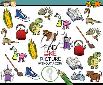 Cartoon Illustration of Finding Single Picture without a Pair Educational Game for Preschool Children