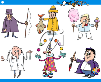 Cartoon Illustration of Funny Professional People Occupations Characters Set