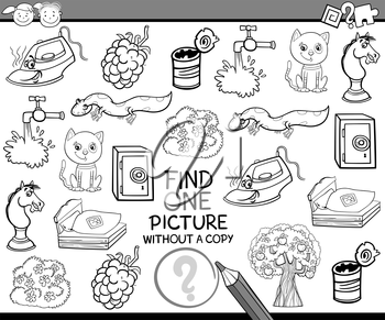 Black and White Cartoon Illustration of Finding Single Picture without Copy Educational Game for Preschool Children