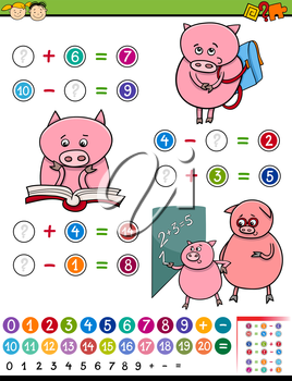 Cartoon Illustration of Education Mathematical Game for Preschool Children with Pig Character