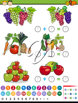 Cartoon Illustration of Education Mathematical Algebra Game for Preschool Children with Fruits and Vegetables