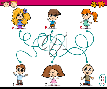 Cartoon Illustration of Education Paths or Maze Game for Preschool Children with Kids Friends