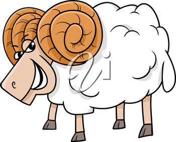 Cartoon Illustration of Funny Ram Farm Animal Character