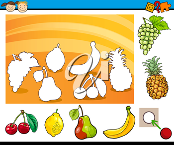 Cartoon Illustration of Educational Game for Preschool Children with Fruits