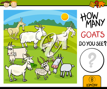 Cartoon Illustration of Kindergarten Educational Mathematical Task for Preschool Children with Goats