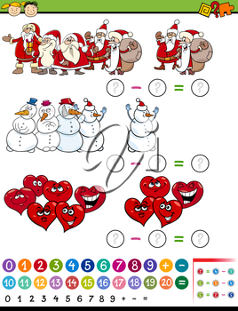 Cartoon Illustration of Education Mathematical Subtraction Task for Preschool Children