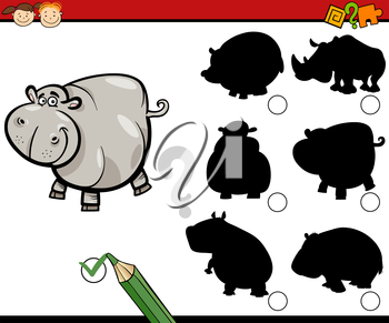 Cartoon Illustration of Educational Shadow Task for Preschool Kids with Hippo Animal Character