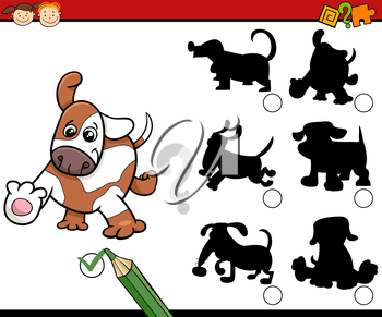 Cartoon Illustration of Educational Shadow Task for Preschool Children with Dogs or Puppies