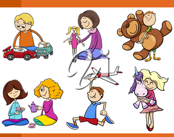 Cartoon Illustration of Kids with Toys Set