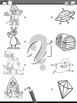 Black and White Cartoon Illustration of Education Element Matching Game for Preschool Children with Fantasy Characters Coloring Book