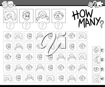 Black and White Cartoon Illustration of Educational Counting Activity Task for Preschoolers with Children Characters for Coloring