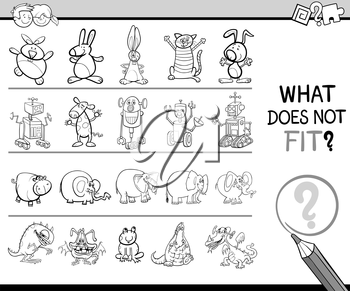 Black and White Cartoon Illustration of Finding Improper Item in the Row Educational Activity for Preschool Children for Children Coloring Book