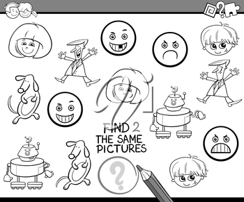Black and White Cartoon Illustration of Find The Same Pictures Educational Activity Task for Preschool Children Coloring Book