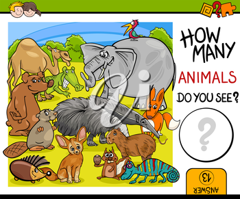 Cartoon Illustration of Educational Counting Math Activity for Preschool Children with Wildlife Animal Characters