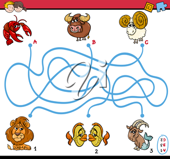 Cartoon Illustration of Educational Paths or Maze Puzzle Activity Task for Preschool Children