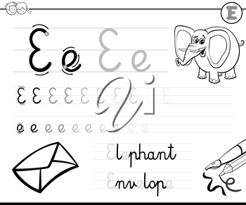 Black and White Cartoon Illustration of Writing Skills Practise with Letter E Worksheet for Children Coloring Book