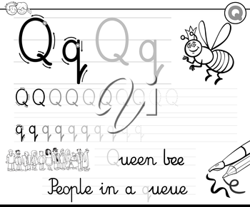 Black and White Cartoon Illustration of Writing Skills Practice with Letter Q Worksheet for Children Coloring Book