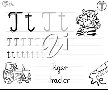 Black and White Cartoon Illustration of Writing Skills Practice with Letter T Worksheet for Children Coloring Book