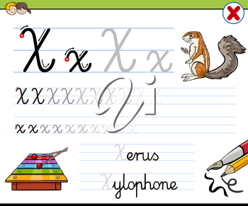 Cartoon Illustration of Writing Skills Practice with Letter X Worksheet for Children